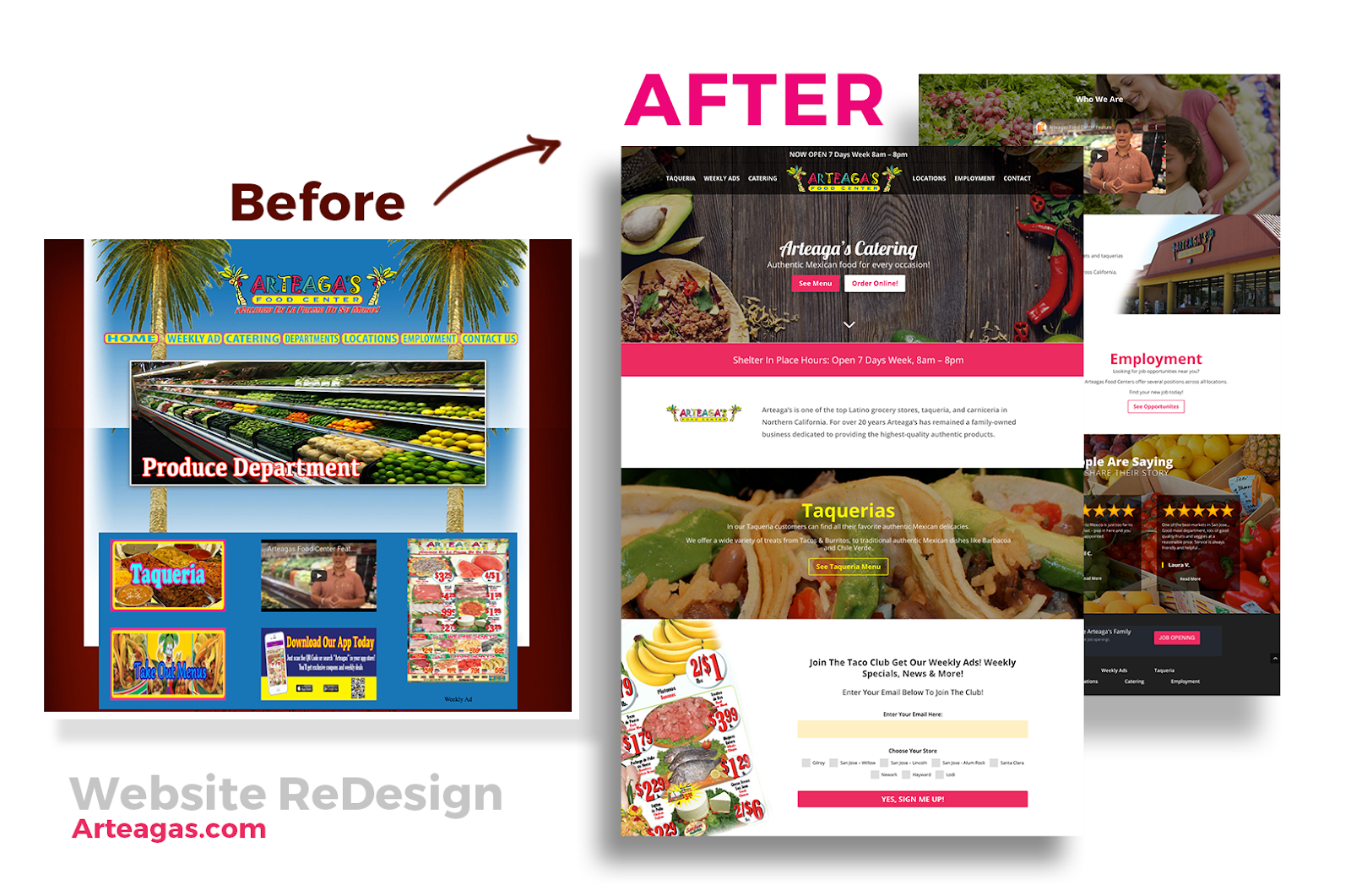 Custom web design for Arteaga's