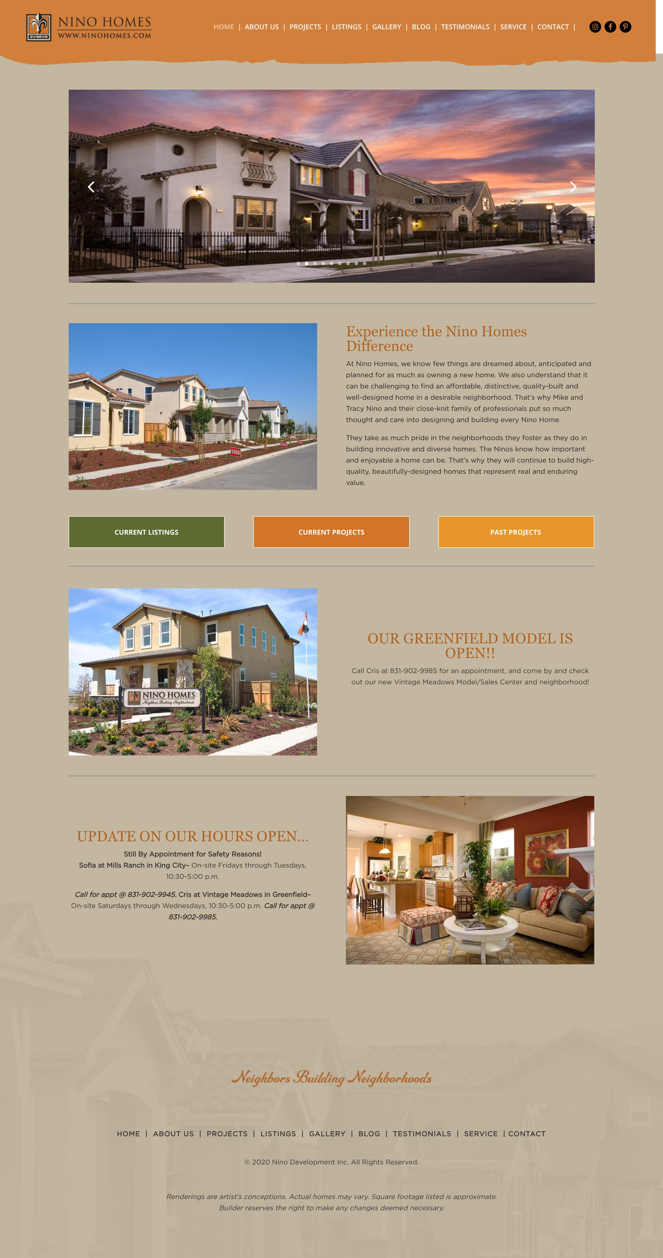 Nino Homes Website Design