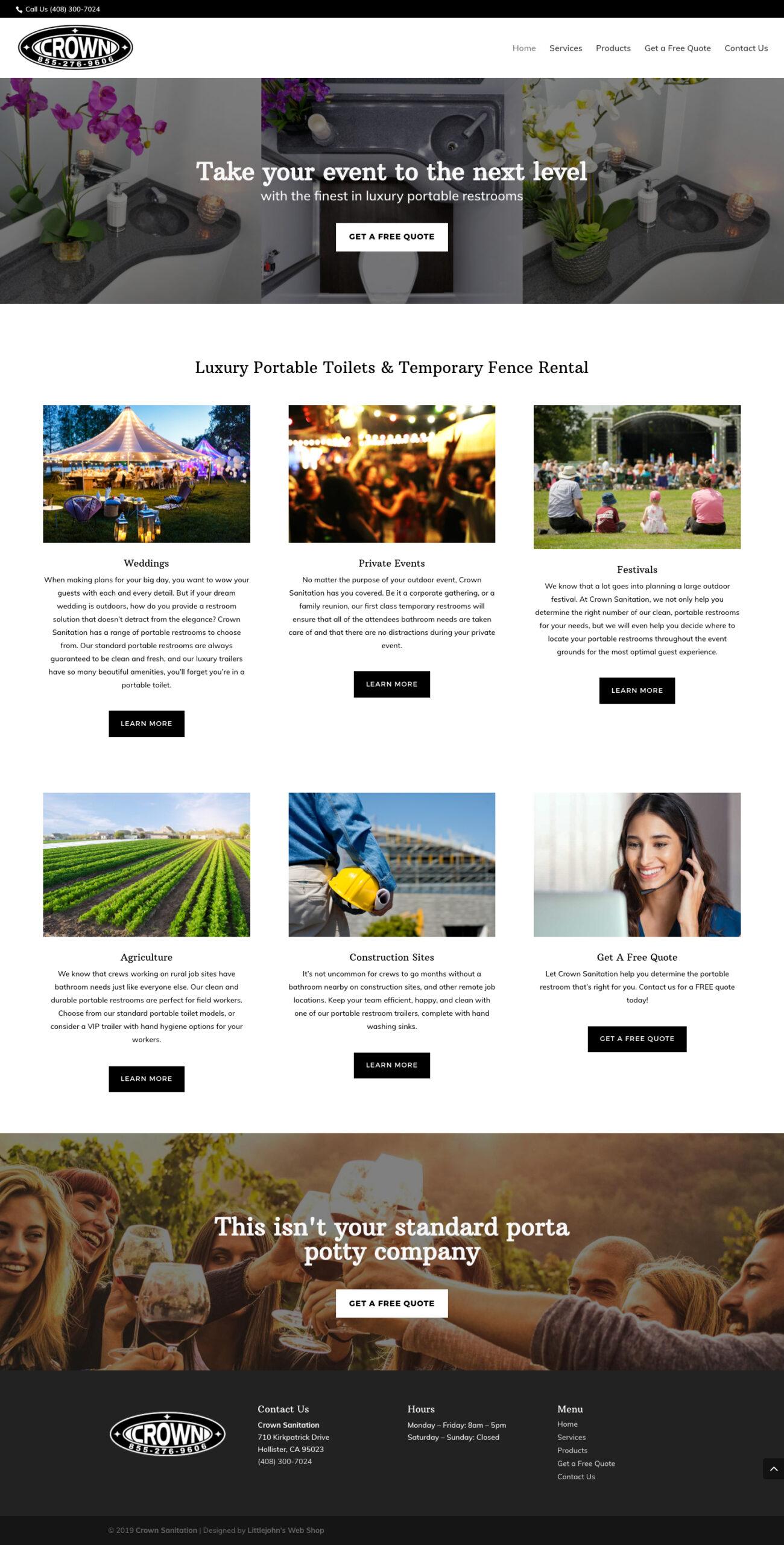 Crown Sanitation Website Design